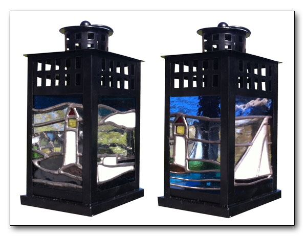leaded glass garden lantern